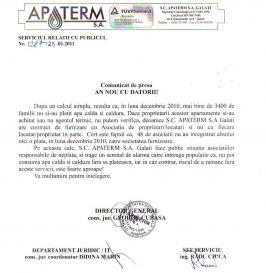 Din comunicatul Apaterm reiese că situația e la fel ca încasările, adică de căcat