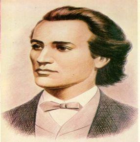 Mihai Eminescu pozînd, evident, din semiprofil