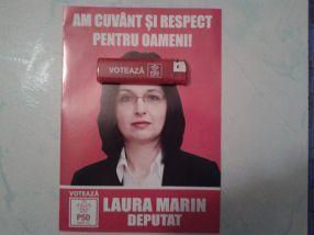 I-am lipit special bricheta pe frunte catindatei PSD Laura Marin, ca să știe că este o manelistă pe tărîmul politicii