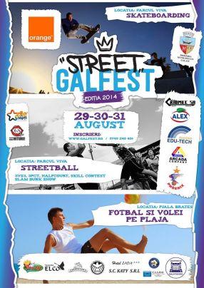 Afișul evenimentului Street Galfest 2014, cu Orange și Prmăria Galați printre amfitrioni