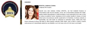 Andreea Apostol, finalistă a concursului pentru Excelență Academică în Străinătate