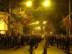 Str. Domnească a fost blocată din cauza protestului, care a durat aproape două ore