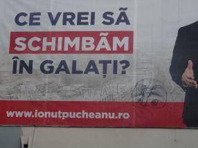 Afișul cu candidatul PSD Ionuț Pucheanu, postat la Potcoava de Aur, a fost pîngărit