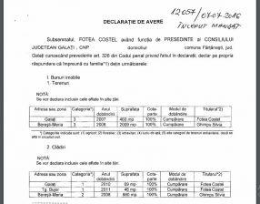 Fragment din declarația de avere a președintelui CJ Galați, Costel Fotea