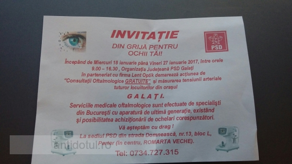 Ca să fie bine văzut, PSD Galați îi trimite pe gălățeni la oftalmolog