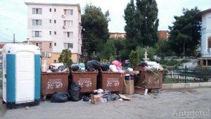 Ghenă de gunoi lângă parc