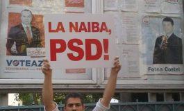 Consilierul local Paul Gavanescu îndemnând protestatarii să voteze PSD!