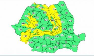 Informare mete de ploi în zonele montane şi în Banat până joi. Este cod galben de vânt puternic