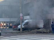 VIDEO Explozie spectaculoasă în parcarea unui hotel din Galați. Patru mașini avariate