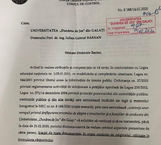 """Corpul de Control al MEC verifică corectitudinea alegerilor pentru funcția de rector al Universității """"Dunărea de Jos"""""""