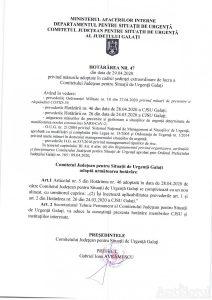 Hotararea nr. 47 CJSU 29.04.2020