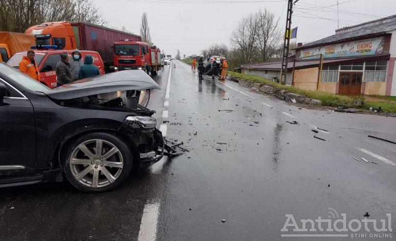 Accident în lanț în județul Galați. Opt persoane au fost rănite