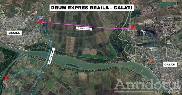 Harta drumul expres Galati -Braila