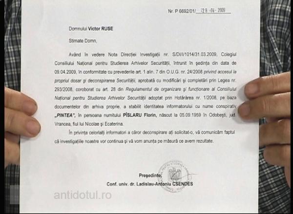 Documentul care atestă turnătoria lui Pîslaru