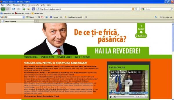 Site-ul lui Traian Băsescu a fost clonat şi transformat în tribună de făcut miştouri pe seama marinarului