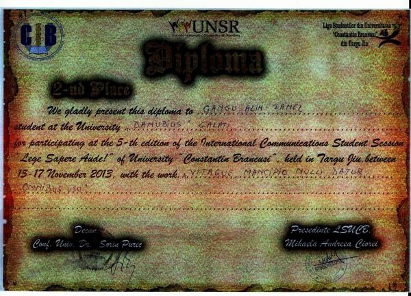 """Medalie de argint pentru un student de la """"Danubius"""" (P)"""