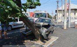 A intrat cu Mercedesul în copac, lîngă Baia Comunală (galerie foto)