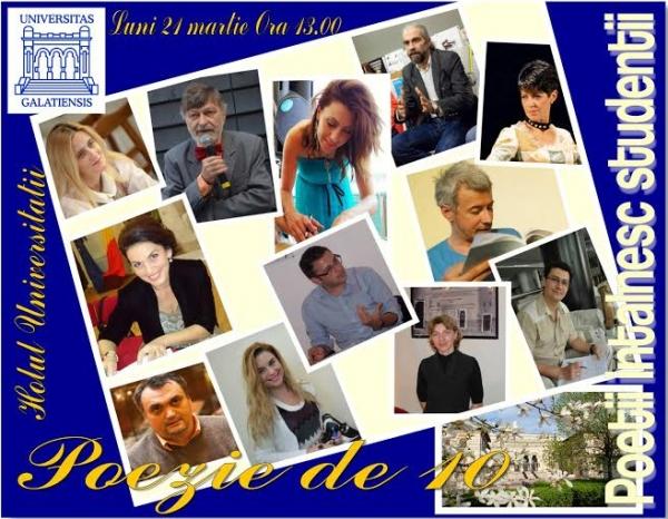 Luni, la Universitatea Dunărea de Jos, Poezie de 10