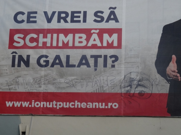 Un afiș cu candidatul PSD Galați Ionuț Pucheanu a fost vandalizat (foto)
